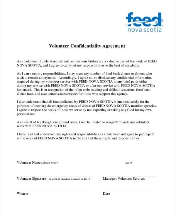 Sample Confidentiality Agreement Form   Free Documents In Doc Pdf