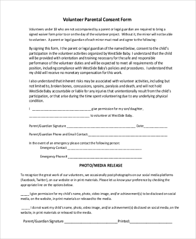 Sample Parental Consent Forms   Free Documents In Pdf Doc