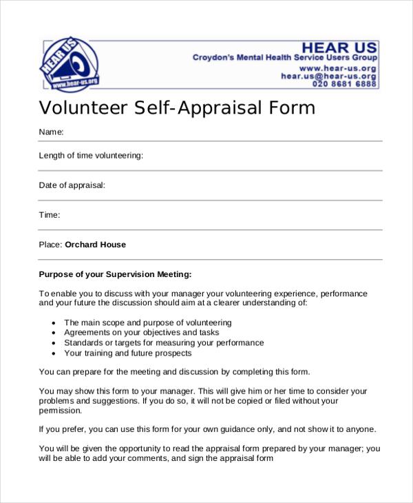 volunteer self appraisal form