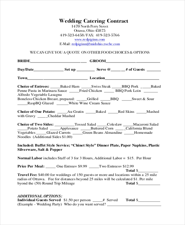 Sample Catering Contract Form   Free Documents In Doc Pdf