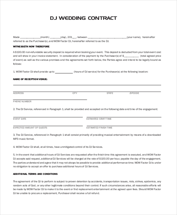 Sample Dj Contract Form - 8+ Free Documents In Pdf, Doc