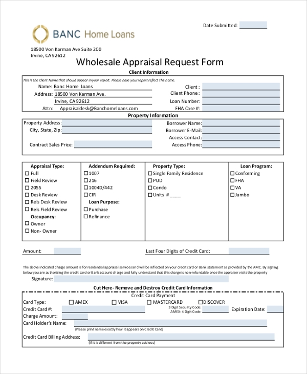 Sample Appraisal Request Form   Free Documents In Pdf