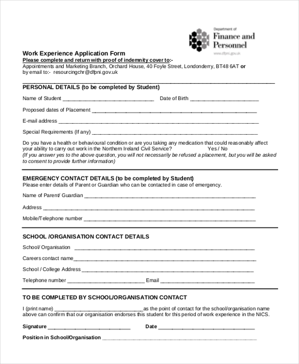 sample work experience application form