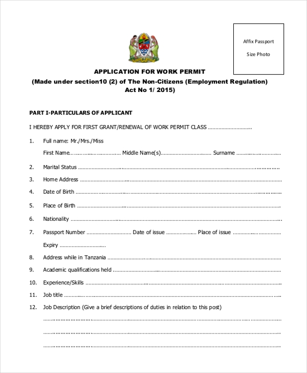 Sample Work Application Form   Free Documents In Pdf Doc