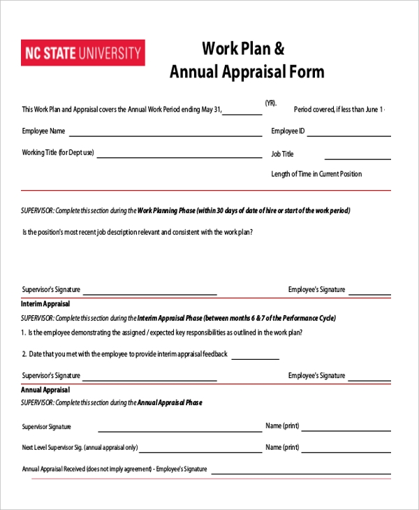 Sample Annual Appraisal Form 9 Free Documents in PDF Doc – Annual Appraisal Form