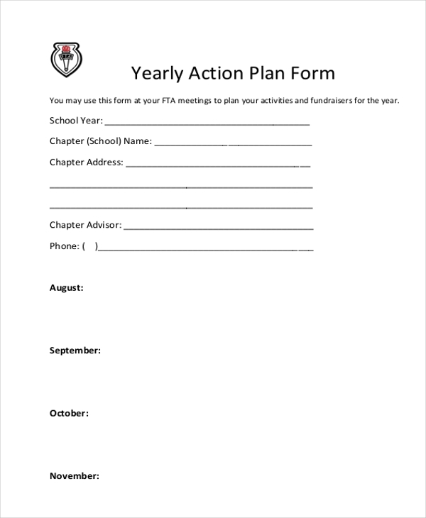 yearly action plan form