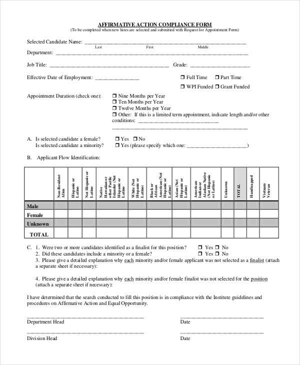 affirmative action compliance form