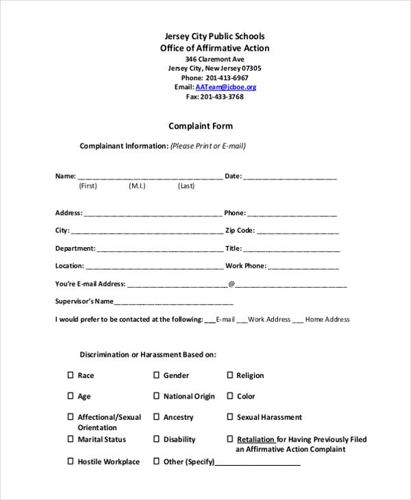 affirmative action compliant form