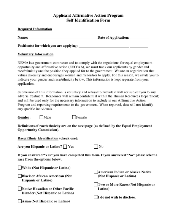 9 sample affirmative action forms free sample example for Affirmative action policy template