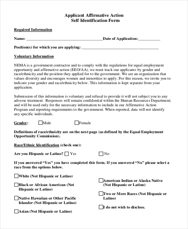 affirmative action self identify form