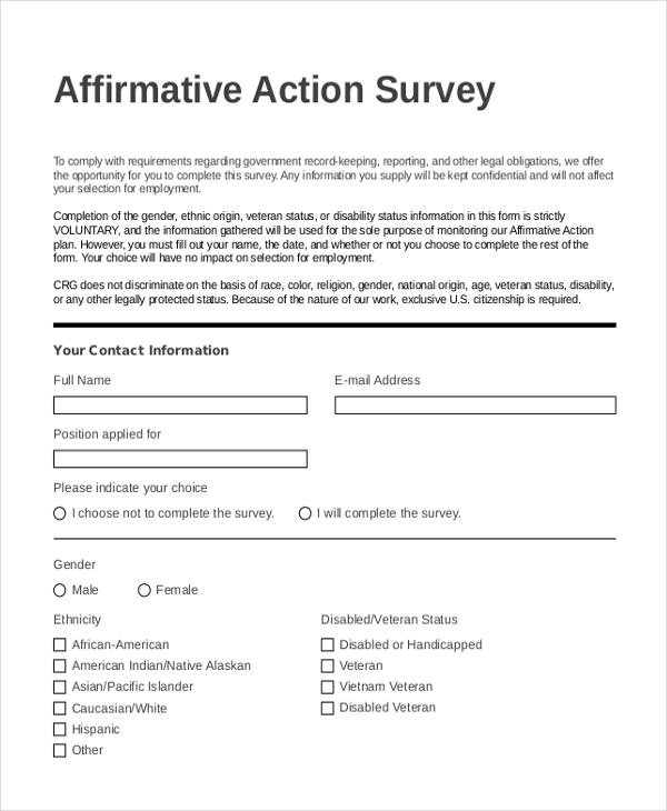 Affirmative Action Plan Affirmative Action Survey Form Sample