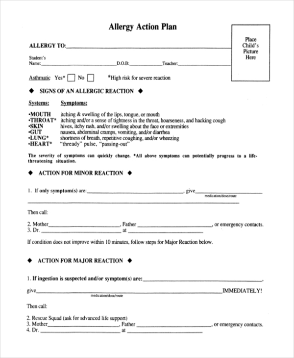 10 sample action plan forms free sample example format for Allergy action plan template