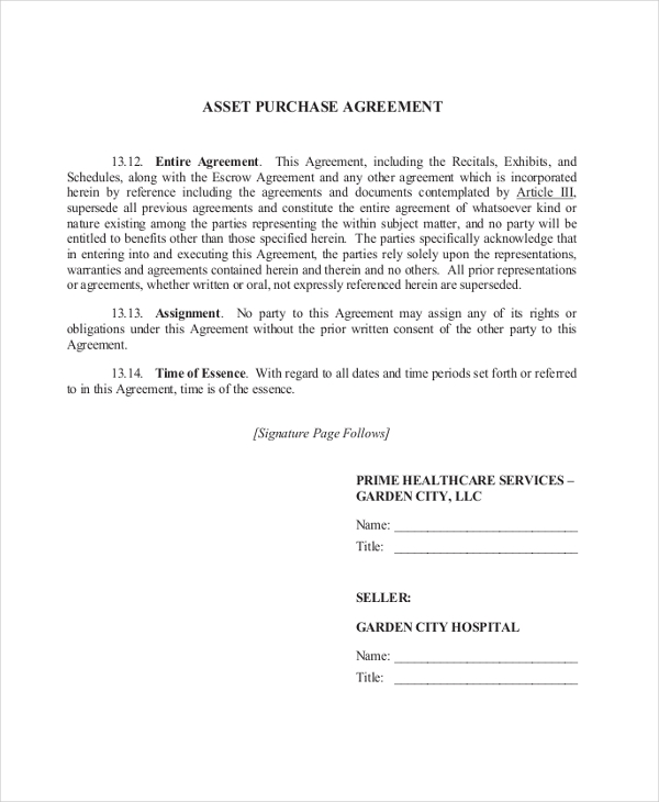 asset purchase agreement form