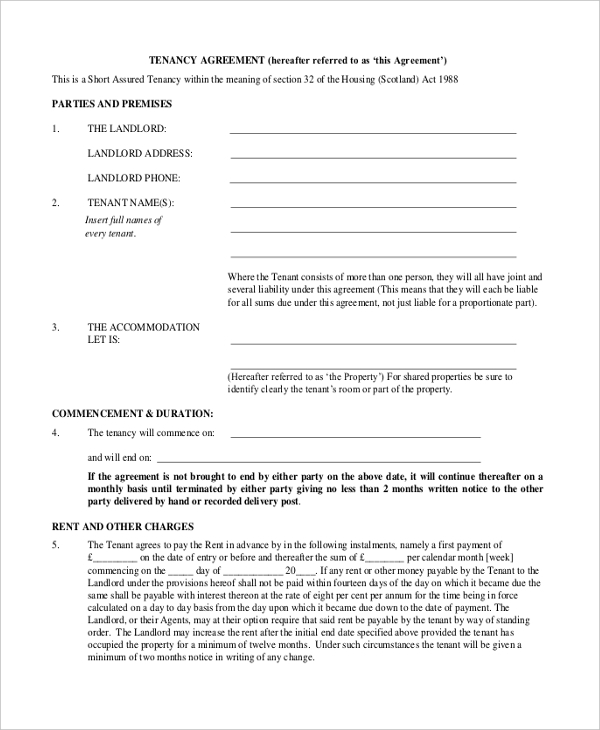 assured tenancy agreement form