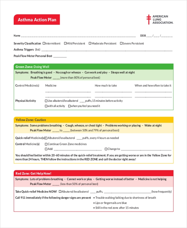 10 sample action plan forms free sample example format for My asthma action plan template