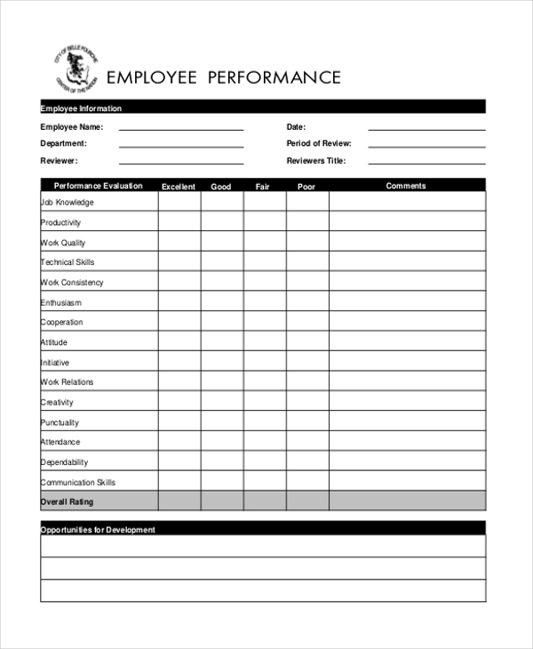 blank employee appraisal form