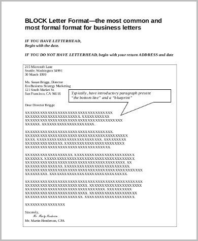 business letter block form