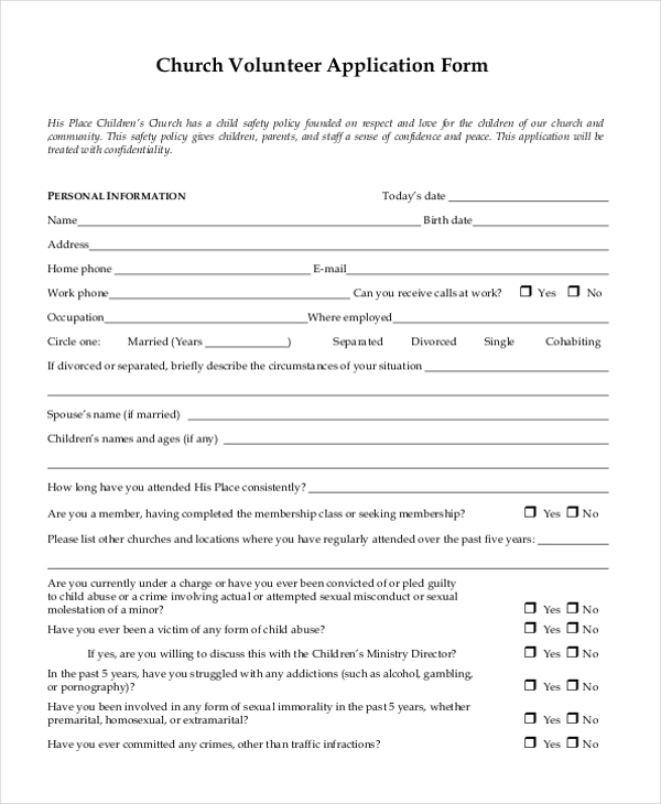 9 sample volunteer application forms free sample example format. Black Bedroom Furniture Sets. Home Design Ideas