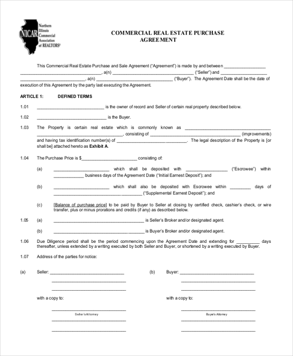 Sample Real Estate Agreement Forms  Free Sample  Example Format