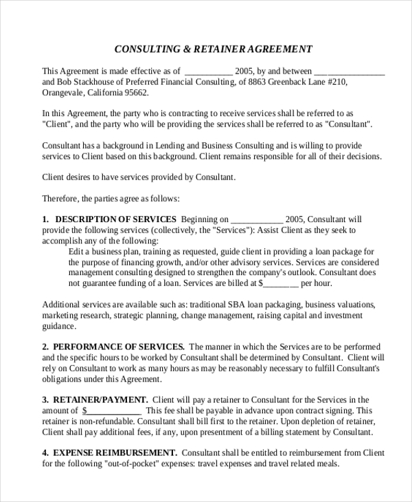 Sample Consulting Agreement Form 9 Free Documents in Doc PDF – Retainer Agreement Template