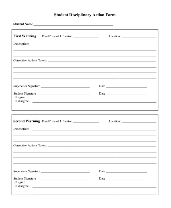 Sample Disciplinary Action Forms  Free Sample Example  Format