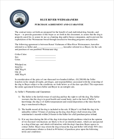 dog purchase agreement