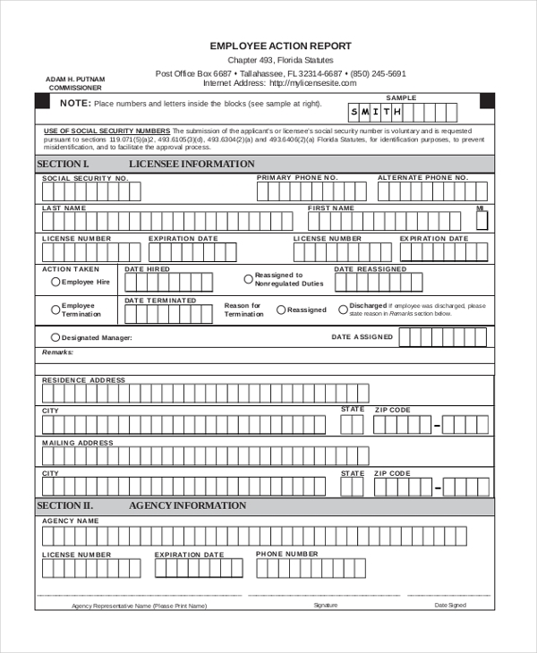 employee action report form