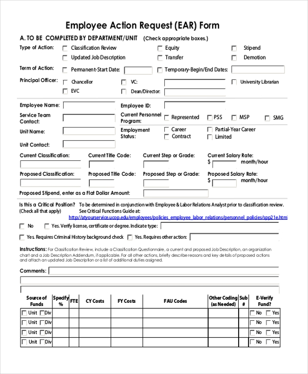 Sample Employee Action Form   Free Documents In Pdf Doc