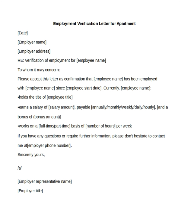 employment verification letter for apartment