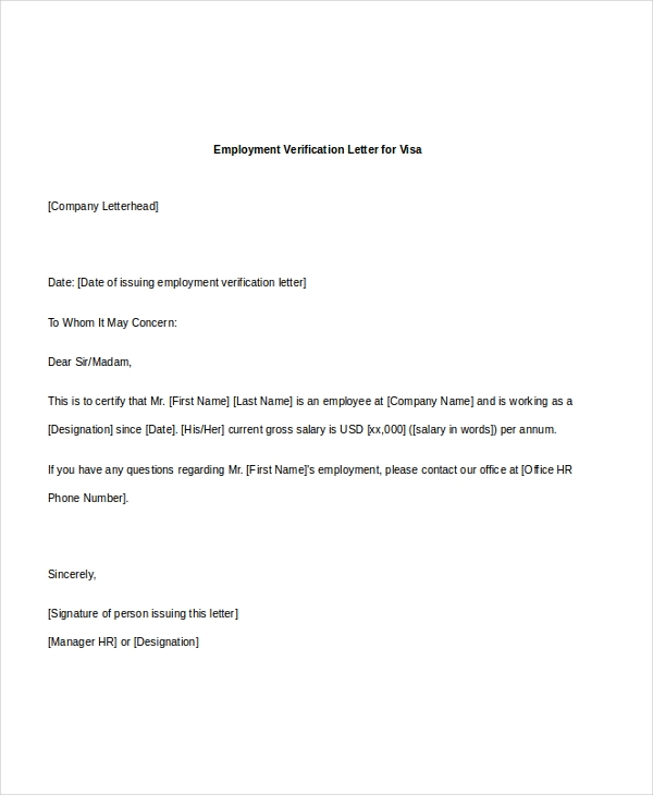 Employment Verification Letter For Visa  Previous Employment Verification Letter