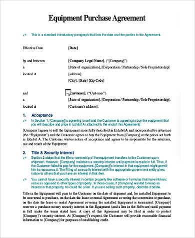 Purchase Agreement Form Samples   Free Documents In Word Pdf