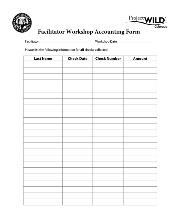 facilitator worshop accounting form