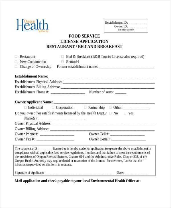 food service license application restaurant