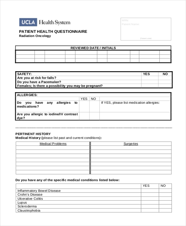 Sample Patient Health Questionnaire Form - 8+ Free Documents in ...