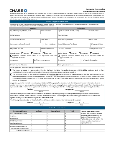 general personal financial statement