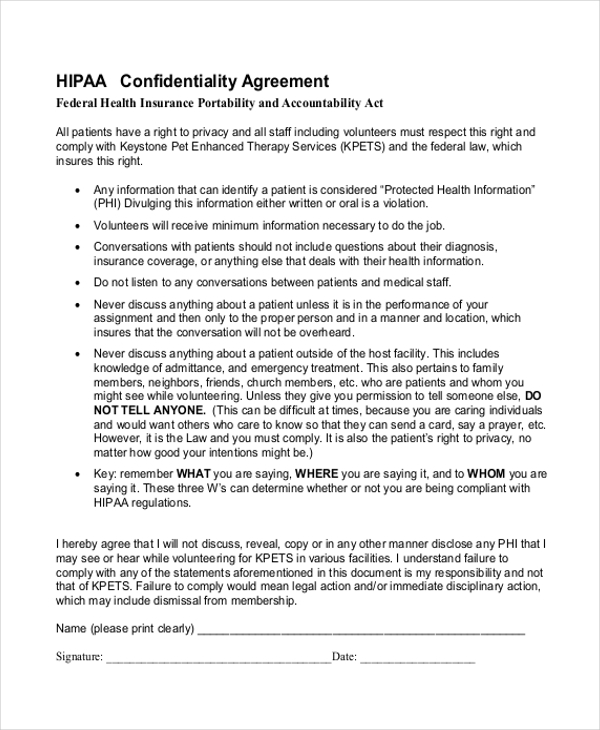 Sample Confidentiality Agreement Form 9 Free Documents in Doc PDF – Confidentiality Agreement Form