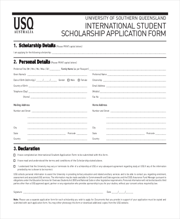 Sample Scholarship Application Form   Free Documents In Pdf