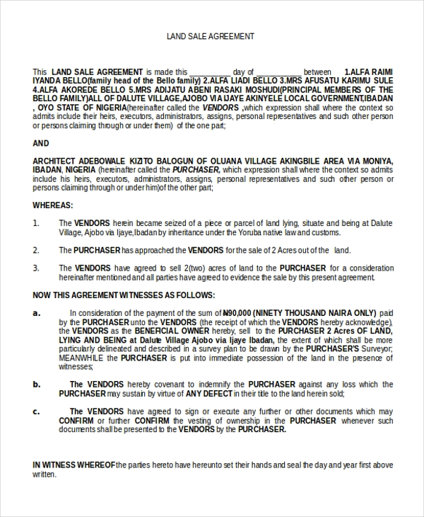 land sale agreement form