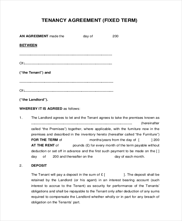 8 Sample Tenant Agreement Forms Sample Example Format