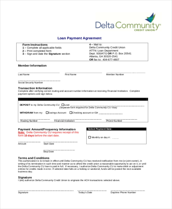 Sample Loan Payment Agreement Form  Loan Form Sample