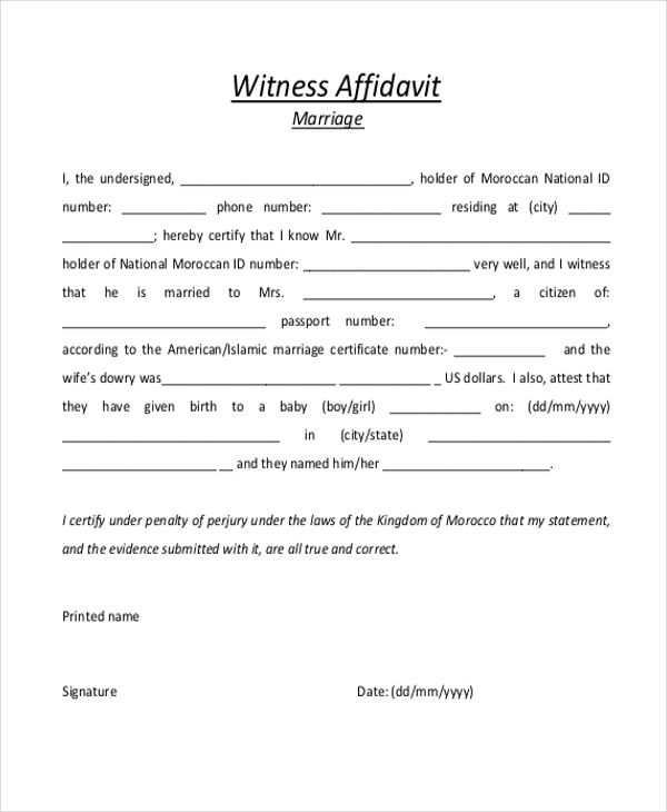 Sample Witness Affidavit Form   Free Documents In Pdf Doc