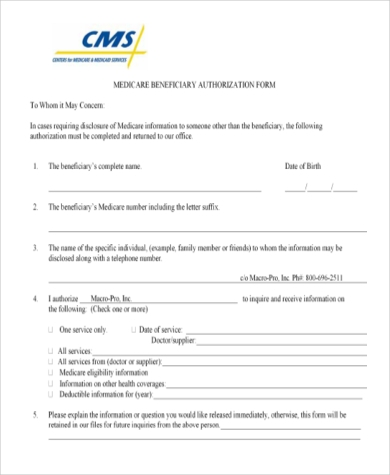 medicare beneficiary authorization form
