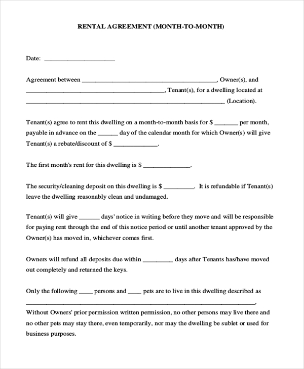 Month To Month Rental Agreement Short Form