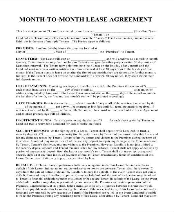 Sample Month To Month Rental Agreement Forms  Sample Example