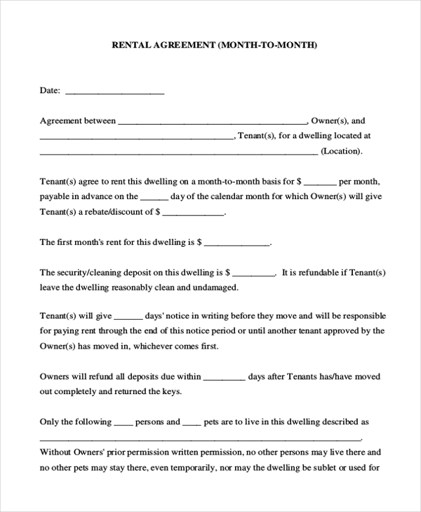 Room Rental Contract. Printable Sample Rental Lease Agreement ...
