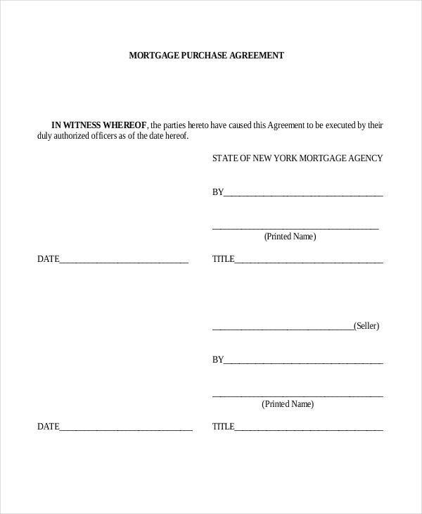 mortgage purchase agreement form