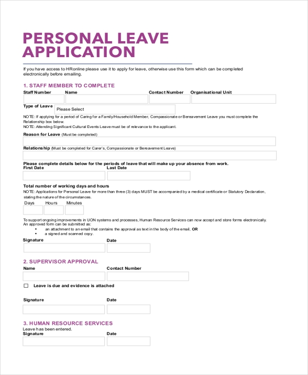 Sample Leave Application Form - 10+ Free Documents In Pdf, Doc