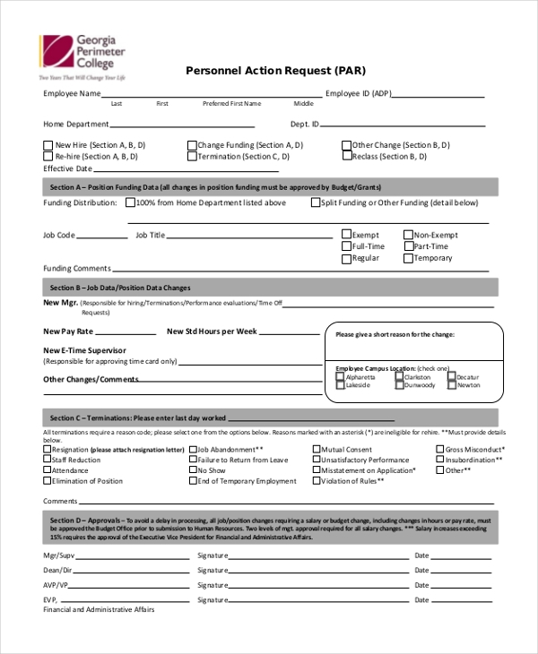 personnel action request form1