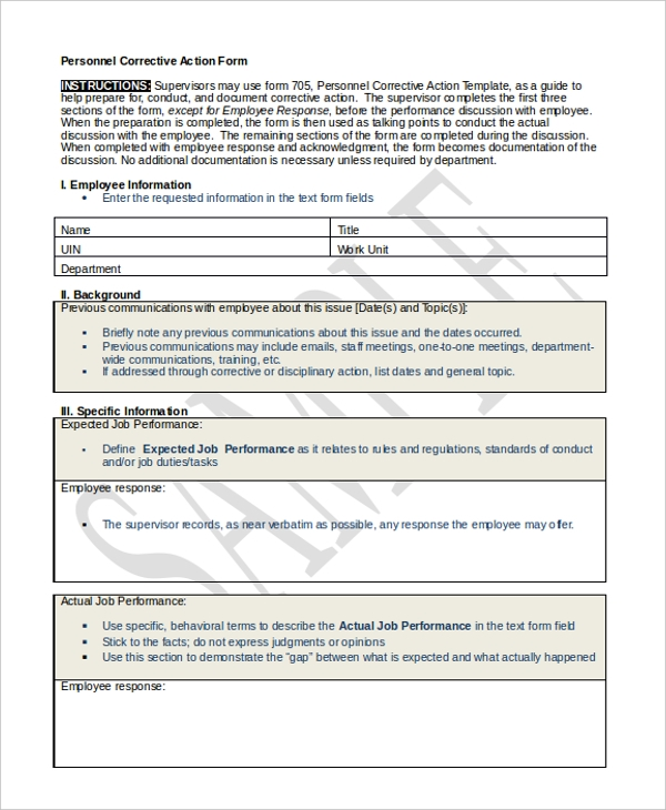 employee corrective action form