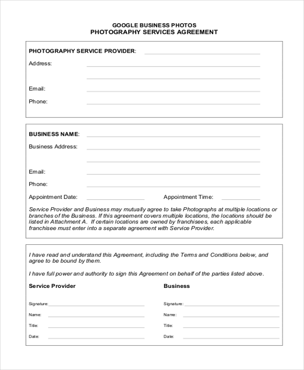 Sample Service Agreement Form   Free Documents In Pdf